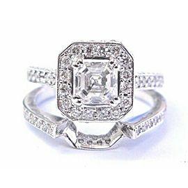 Natural Square Emerald Diamond White Gold Engagement Set 18Kt GIA E-VS2 2.21Ct