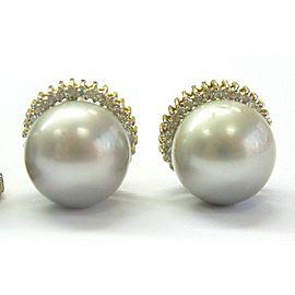 Grey Pearls & Diamond Set Ring/Earrings/Pendant 14Kt .70Ct 12.6mm