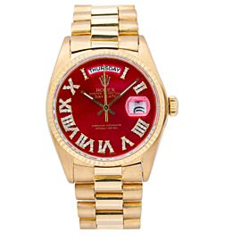ROLEX DAY DATE PRISIDENT 36MM YELLOW GOLD 18038 RED DIAL PRESIDENT BRACELET