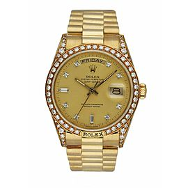 Rolex Day Date 18138 18K Yellow Gold Factory Diamond Dial Men's Watch