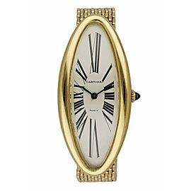 "Cartier Baignoire Allongee W1507451 ""Maxi Oval"" 18K Yellow Gold Rare Ladies Watc"