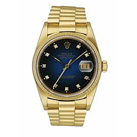 Rolex Datejust 16018 President Blue Vignette Diamond Dial Men's Watch Box & Pape