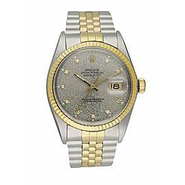 Rolex Datejust 16013 Anniversary Diamond Dial Men's Watch Box Papers