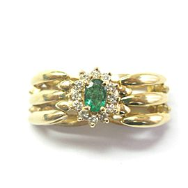 Green Emerald & Diamond Flexible Ring 14Kt Yellow Gold .50Ct + .45Ct SIZEABLE