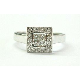 Natural Princess & Round Cut Diamond White Gold Cluster Ring .40Ct 14Kt