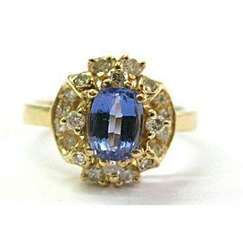 Cushion Tanzanite & Diamond Yellow Gold Ring AAAA / VS 14KT 1.33Ct SIZEABLE