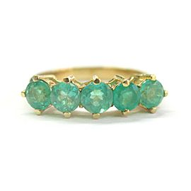 Colombian Green Emerald Five Stone Band Ring 18Kt 1.85Ct