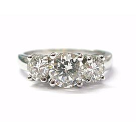 Round Cut NATURAL Diamond 3-Stone Engagement SOLID White Gold Ring 1.79CT