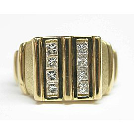 Fred of Paris 18Kt Princess Cut Diamond 2-Row Jewelry Ring Yellow Gold 1.00CT