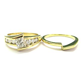 Princess Cut Diamond Engagement Set Tension Setting 18Kt Yellow Gold 1.50Ct