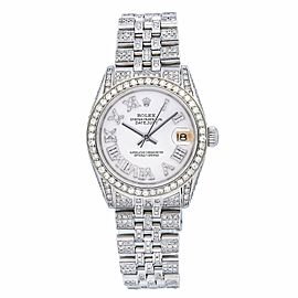 ROLEX DATEJUST LADY WATCH 26MM 6827 STAINLESS STEEL JUBILEE BRACELET ICED OUT