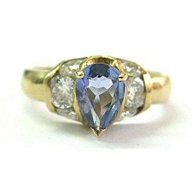 Pear Shape Tanzanite & Diamond Ring 14Kt Yellow Gold AAA/VS 2.00Ct SIZEABLE