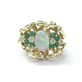 Fine Gem Emerald Diamond Opal Yellow Gold Ring 14KT 1.68CT