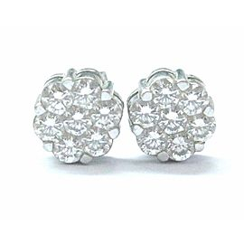18Kt Round Cut Diamond Cluster Stud Earrings White Gold 1.12Ct 7.6mm