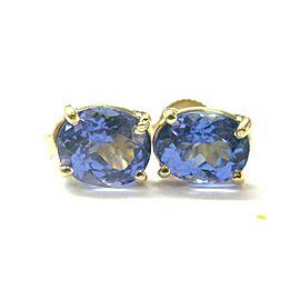 Natural Tanzanite Oval Shape Yellow Gold Stud Earrings 2.50CT AAA/VS