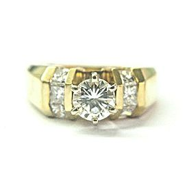 Round & Princess Cut Diamond Engagement Ring 14Kt Yellow Gold 1.05Ct