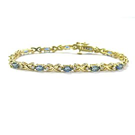 "Blue Sapphire & Diamond Tennis Bracelet 14Kt Yellow Gold 5.35Ct 7"""