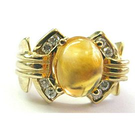 Citrine & Diamond Yellow Gold Ring Solitaire W Accent 14Kt 2.16Ct SIZEABLE