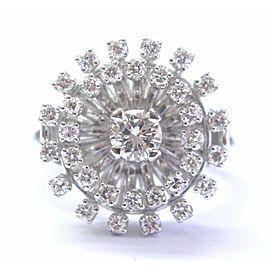 Fine Round Cut Diamond Circular White Gold Solitaire W Accent Jewelry Ring .96CT