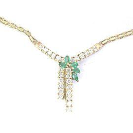 Natural Gem Green Emerald & Diamond Yellow Gold Pendant Necklace 1.65Ct