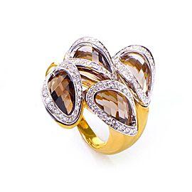 Superoro 18K Yellow Gold Smokey Topaz & Diamond Ring Size 7.25