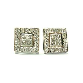 Natural Princess & Round Cut Diamond White Gold Stud Earrings .70Ct 14KT