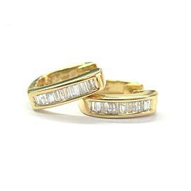 Baguette Diamond Square Hoop Earrings 18Kt Yellow Gold .65Ct 15mm