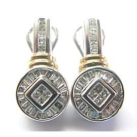 Fine Two-Tone Princess & Baguette Cut Diamond Earrings 1.20Ct