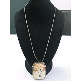 "Vintage 14Kt Cameo Diamond Pin/Brooch & Necklace .14Ct 24"" 2"""