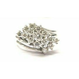 Three Row Diamond Cluster Solid White Gold Jewelry Ring 14Kt .85Ct Free Sizing
