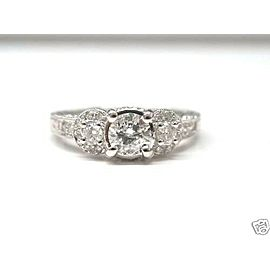 Fine 18K Antique Inspired Round Cut Diamond Three Stone White Gold Ring