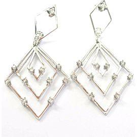 """Fine 14Kt Drop Down Diamond Earrings White Gold 0.60Ct 2.5"""""""
