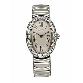 Cartier Baignoire 18K White Gold 1955 Diamond Bezel Ladies Watch