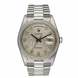 Rolex Day-Date 18239 18K White Gold Anniversary Diamond Dial Men's Watch