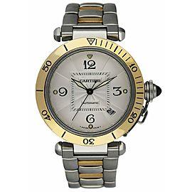 Cartier Pasha 2378 18K Yellow Gold & Stainless Steel Men's Watch Full Set