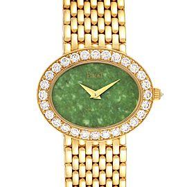 Piaget 18k Yellow Gold Jadeite Dial Diamond Ladies Watch P10242