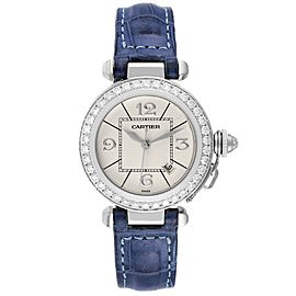 Cartier Pasha 32 White Gold Blue Strap Diamond Ladies Watch WJ111651