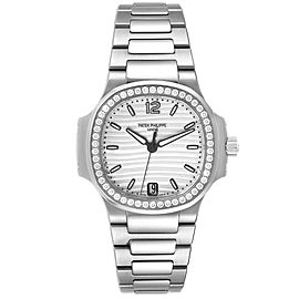 Patek Philippe Nautilus Silver Dial Diamond Steel Ladies Watch 7118