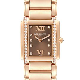 Patek Philippe Twenty-4 Rose Gold Brown Dial Diamond Ladies Watch 4910