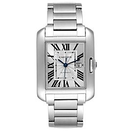 Cartier Tank Anglaise Silver Dial Steel Large Mens Watch W5310009