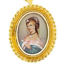 Vintage 18K Yellow Gold with 0.03ct Diamond Portrait Painting Pendant Necklace
