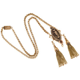 14k Rose and Green Gold Tassel Double Vintage Spiral Link Chain Necklace