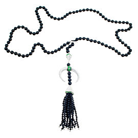 18K White Gold with 2.44ct Diamond, Onyx & Garnet Tassel Lariat Necklace