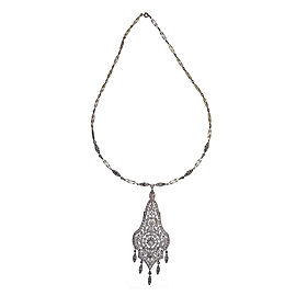 Vintage Belle Epoque Platinum and Diamond Pendant Necklace