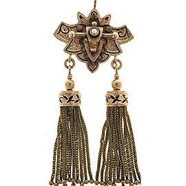 14K Rose Gold Pearl Black Enamel Tassel Pendant Vintage Necklace