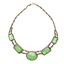 Victorian 1910 Natural Jadeite Jade Necklace Natural Pearl 14k Gold Certified