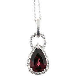 Platinum with 1.80ct. Red Garnet & 0.25ct. Diamond Pendant Necklace