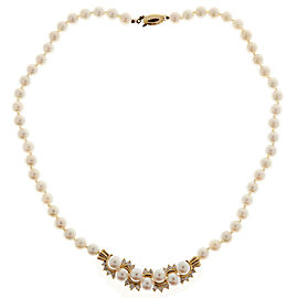 14K Yellow Gold with 1.00ct Diamond & Pearl Necklace