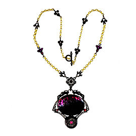 18K Yellow Gold & Blackened Sterling Silver with Tourmaline & Diamond Byzantine Necklace