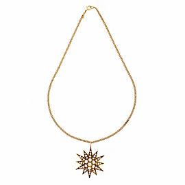 Vintage 14k Rose Gold Star Pendant Natural Cultured Pearls & Rose Cut Diamonds Necklace